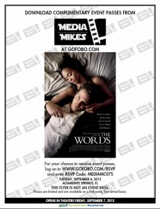 "Complimentary Passes to the Orlando, FL Screening for ""The Words"" [ENDED]"
