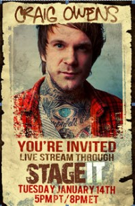 Chiodos' Craig Owens to Appear Live On-line via Stage It Tuesday, January 14