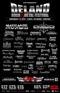 CCE Presents DeLand Rock & Metal Festival set for November 7-9th – 3 Days – 50 Bands!